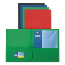 "<strong>Business Source</strong> 2-Pocket Folders, 125 Sh. Cap., 11""x8-1/2"", 25 per Box, Assorted"