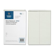 "Wirebound Steno Notebooks, Greg Ruled, 6""x9"", 70 Sheets, Green Paper"