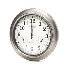 "18"" Pewter Analog Atomic Wall Clock with Thermometer and Hygrometer"