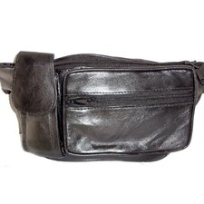 Leather Side Phone Fanny Pack in Black