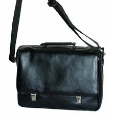 Pebble Grain Black Leather Messenger Bag