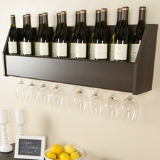 Floating 18 Bottle Wall Mount Wine Rack