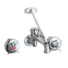 Manual Wall Mounted Garage Faucet with Vacuum Breaker Spout and Double Cross Handle