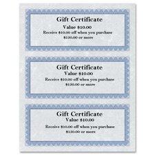 "Gift Certificates,8-1/2""x11"",24 lb,Regent Certificates,BE/SR"