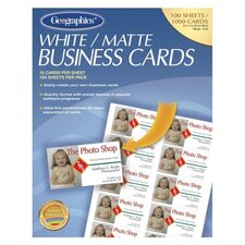 <strong>Geographics</strong> Business Card, Inkjet Coated, Matte, White, 1000 Cards