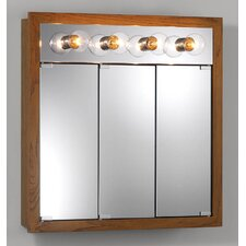 Surface Mount Cabinet with Four Bulbs in Honey Oak