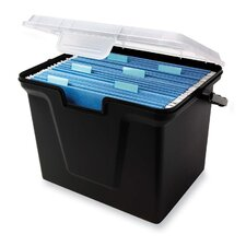 "File Box, 10-1/2""x14-3/4""x10-3/4"", Black w/ Clear Lid"