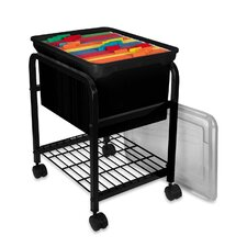 "Hanging File Cart,w/ Clear Lid,15-5/8""x18""x25-5/8"",Black"