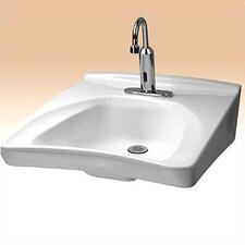Wall Mount Wheel Chair Access Bathroom Sink with Centers and Soap Dispenser Hole Drilling