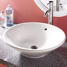 Classically Redefined Round Ceramic Vessel Bathroom Sink with Overflow
