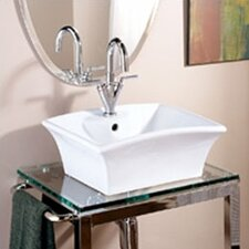 Classically Redefined Rectangular Ceramic Vessel Bathroom Sink with Overflow