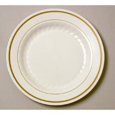 "Masterpiece 6"" Plastic Plate in Ivory with Gold Accents"