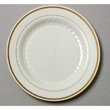 "Masterpiece 9"" Plastic Plate in Ivory with Gold Accents"