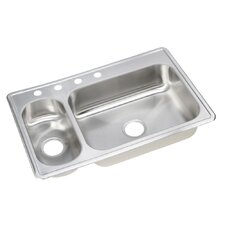 "Dayton 33"" x 22"" Elite Top Mount Double Bowl Kitchen Sink"