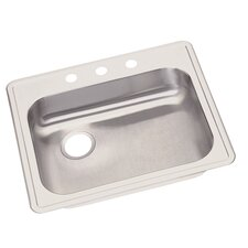 "Dayton 25"" x 21.25"" Single Bowl 3 Hole Kitchen Sink"