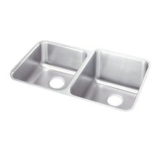 "Lustertone 31.25"" x 20.5"" Double Bowl Undermount Kitchen Sink with Reveal Rim"