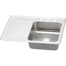"Lustertone 33"" x 22"" x 7.63"" 3-Hole Self Rimming Single Bowl Kitchen Sink with Single Drainboard"