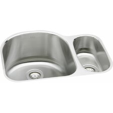 "Lustertone 26.75"" x 20"" Deep Multi-Sized Double Bowl Kitchen Sink"