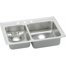 """Lustertone 33"""" x 22"""" Double Bowl Kitchen Sink with Disposer Drain"""