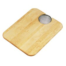 """19"""" x 15"""" Hardwood Cutting Board and Strainer"""