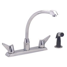 Centerset Kitchen Faucet with Wing Handles and Side Spray
