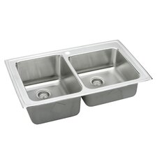 "Lustertone 37"" x 22"" Gourmet Double Bowl Kitchen Sink with 4 Holes"