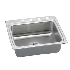 "Gourmet 25"" x 22"" x 6"" Drop-In Single Bowl Kitchen Sink"
