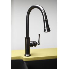 Single Handle Deck Mount Single Lavatory Kitchen Faucet with Pull Down Spray