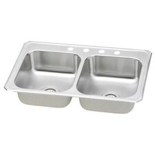"Celebrity 33"" x 21.25"" 4-Hole Self Rimming Double Bowl Kitchen Sink"