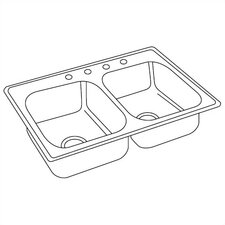 "Dayton 33"" x 19"" Top Mount Double Kitchen Sink"