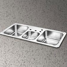 "Celebrity 43"" x 22"" 4 Hole Triple Bowl Kitchen Sink"