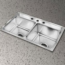 "Lustertone 33"" x 19.5"" Extra Deep Self-Rimming Double Kitchen Sink"