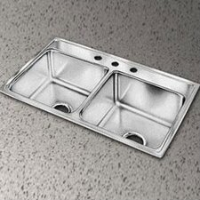 "Lustertone 33"" x 22"" Gourmet Extra Deep Double Kitchen Sink"