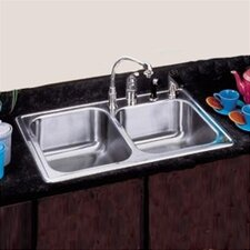 "33"" x 22"" Self Rimming Double Bowl Kitchen Sink"