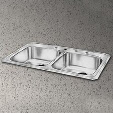 "Celebrity 33"" x 21.25"" Self Rimming 4-Hole Double Bowl Kitchen Sink"