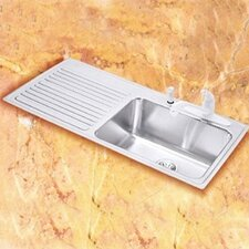 "Gourmet 43"" x 22"" x 10"" 4-Hole Self Rimming Single Bowl Kitchen Sink with Right Handed"