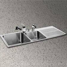 "Gourmet 48"" x 22"" x 10"" 3-Hole Self Rimming Double Bowl Kitchen Sink with Left Handed"