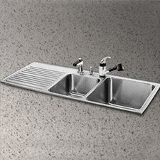 "Gourmet 48"" x 22"" x 10"" 3 Hole Self Rimming Double Bowl Kitchen Sink with Right Handed"