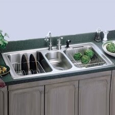 "<strong>Elkay</strong> Gourmet 43"" x 22"" Self Rimming 3-Hole Triple Bowl Kitchen Sink with Faucet"