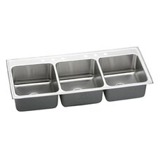 "Gourmet 54"" x 22"" Lustertone Triple Bowl Kitchen Sink"