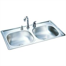 "33"" x 22"" Double Bowl Kitchen Sink"