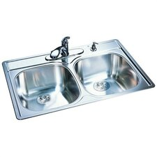 "33"" x 22""18 Gauge Double Bowl Kitchen Sink"