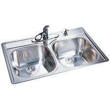 "<strong>FrankeUSA</strong> 33"" x 22"" 20 Gauge Double Bowl Kitchen Sink"