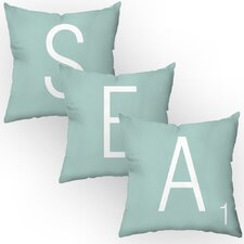 Letters of the Sea Throw Pillow Set (Set of 3)