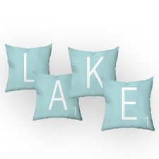 Letters of the Lake Throw Pillow Set (Set of 4)