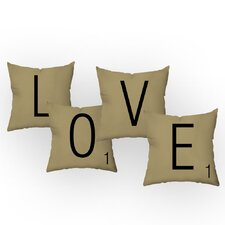 Letters of Love Throw Pillow Set (Set of 4)