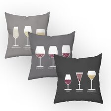 Oenophilia Throw Pillow Set (Set of 3)