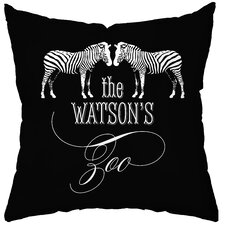 <strong>Checkerboard, Ltd</strong> Personalized Zoo Poly Cotton Throw Pillow