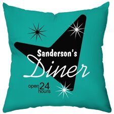 <strong>Checkerboard, Ltd</strong> Personalized Diner Poly Cotton Throw Pillow