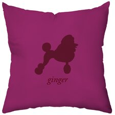Personalized Poodle Poly Cotton Throw Pillow